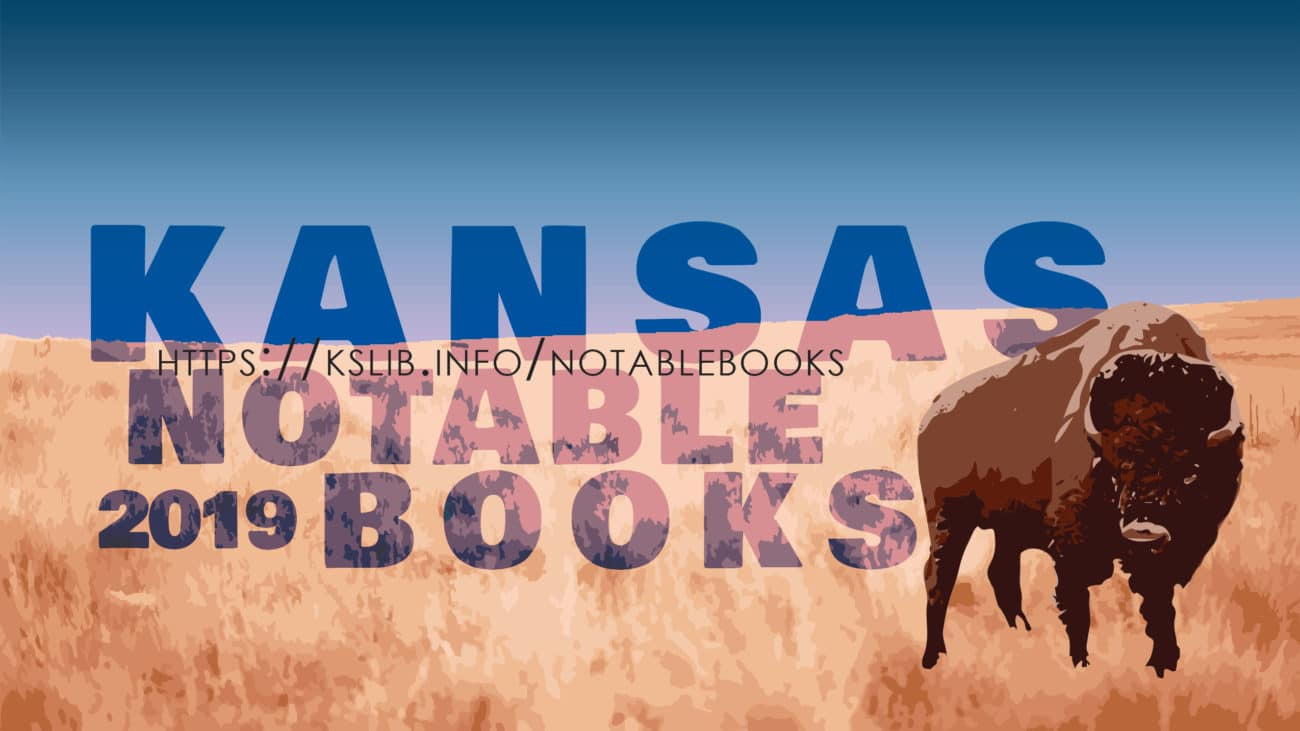 Logo for Kansas Notable Books 2019 - Buffalo in a field.